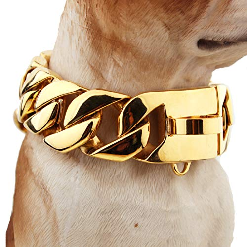 MROSW Top Luxury Dog Collar, Stainless Steel 30mm 18K Gold Big Dog Luxury Training Collar Cuban Choke Chain Link,Best for Large Dogs,50cm