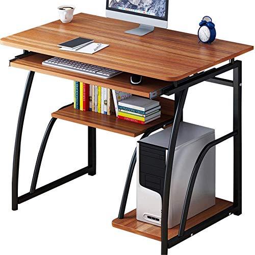 Escritorio de ordenador para ordenador portátil, escritorio simple de escritura, mesa de estudio, perfecta para el hogar, oficina y estación de trabajo (tamaño único; color: negro)