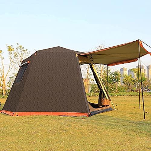 Tenda 5-6 persone/uomo, tenda da campeggio, tenda pop-up impermeabile con telo antipioggia superiore, installazione facile con rete larga per la ventilazione, tenda esagonale a doppio strato per picni