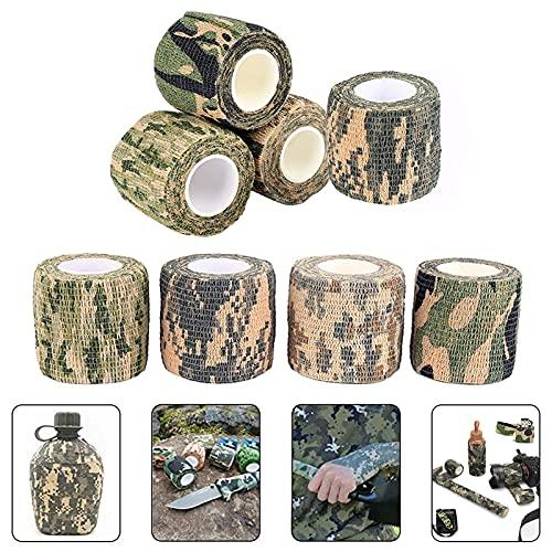 Xionghonglong Camo Tape Stoff,8 Rollen Camo Tapes,Outdoor Tarnband,Wrap Camouflage Selbstklebender,Selbstklebende Tarnung Band,Camo Bandage,Camouflage Klebeband für Jagd,Teleskop,Fahrrad(5CMx4.5M)