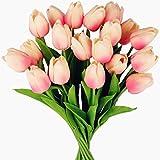Tifuly 24 Stück künstliche Tulpen, realistische Latex-Tulpe mit weichem PU-Stiel, Elegante Blumendekoration für Brautsträuße, Haus, Party, Büro, DIY Blumenarrangements(Hell-Pink)