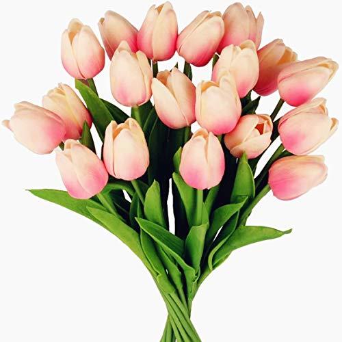Tifuly 24 Piezas de Tulipanes Artificiales de látex, Ramos de Flores Falsos de Tulipanes realistas para el hogar, Bodas, Fiestas, decoración de oficinas, arreglos Florales (Rosa Claro)