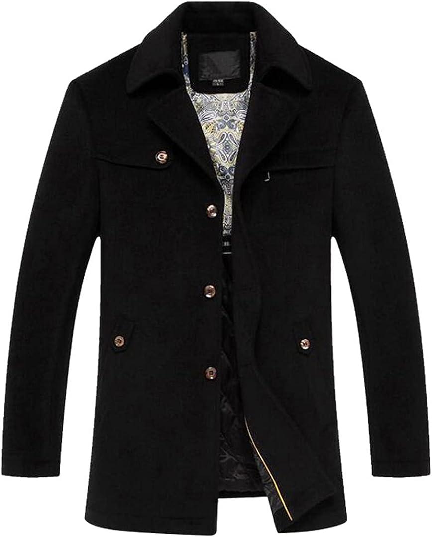 Men's Wool Coat Turn Down Collar Cotton-Padded Thick Warm Woolen Coat Male Trench Coat Overcoat