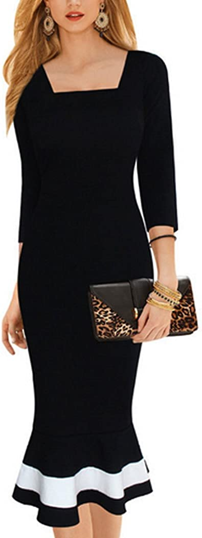 Inshine Women 2/3 Sleeve Square Collar Bodycon Fishtail Business Dresses