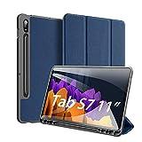 Hülle für Samsung Galaxy Tab S7 (SM-T870/875) 2020, DUX DUCIS Ultra Schlank leichte & Klappständer Schutzhülle Mit S Pen Halter & Automatischem Schlaf/Aufwach für Samsung Galaxy Tab S7 11