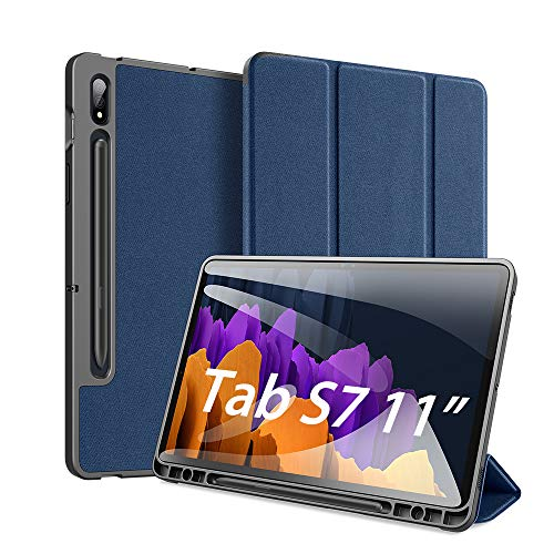 DUX DUCIS Funda para Samsung Galaxy Tab S7 11 Inch (T870/T875) 2020, Carcasa Folio Ligera con Carcasa Silicona TPU Smart Cover Case con Self-Sleep/Wake, para Samsung Tab S7 11', Azul