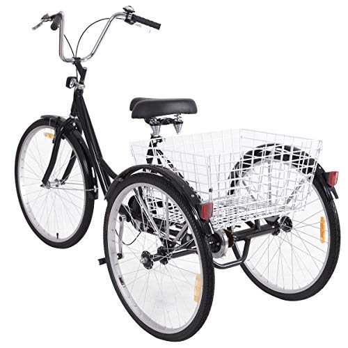 GYMAX 3-Wheel Bicycle, Adult Tricycle Trike Cruise Bike with Adjustable Seat and...