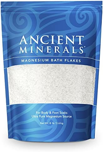 Ancient Minerals Magnesium Bath Flakes of Pure Genuine Zechstein Chloride resealable Magnesium Bag That Will outperform Leading Epsom Salts (8 lb)