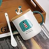 YXYLQ Navigazione Creativa Tazza di Ceramica Ins Semplice Tazza da caffè con Coperchio Cucchiaio 350 Ml Colazione Domestica Tazze da Latte Bambini Che Bevono Tazze-B