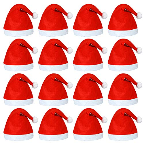 Elcoho 20 Pack Santa Red Hat Short Plush with White Cuffs Non-Woven Fabric Christmas Hat Santa Hat for Adults