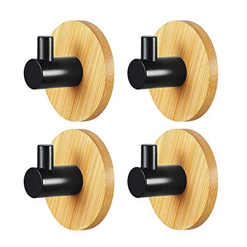 4 ganchos autoadhesivos de acero inoxidable 304 y bambú, para albornoz, ropa, sin taladrar, para baño y cocina