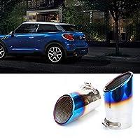 自動車部品エキゾーストエンドパイプ 車のステンレス鋼テールスロートエキゾーストパイプテールパイプエキゾーストパイプ ミニ用クーパー用F54 F55 F56 F60 R56 R60 (Color : 青い, サイズ : F56)