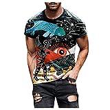 Spritumn-Home Camisa de Manga Corta 3D Estampada Hombres Tops Casual Blusa de Chaleco Ajustada Camiseta Elegante Medias...
