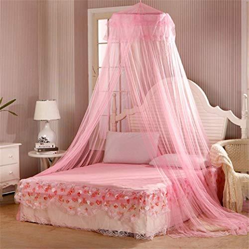 Steellwingsf - Mosquitera redonda para cama de verano, estilo dulce, Poliéster + alambre de acero., Rosa, talla única