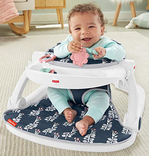 Fisher-Price Sit-Me-Up Floor Seat with Tray Navy Garden, portable infant chair with toys