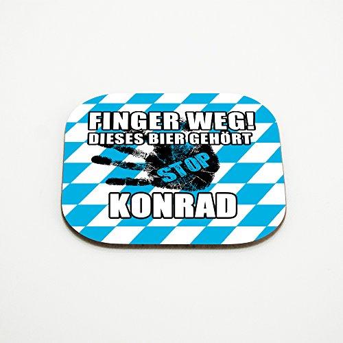 Untersetzer für Gläser mit Namen Konrad und schönem Motiv - Finger weg! Dieses Bier gehört Konrad