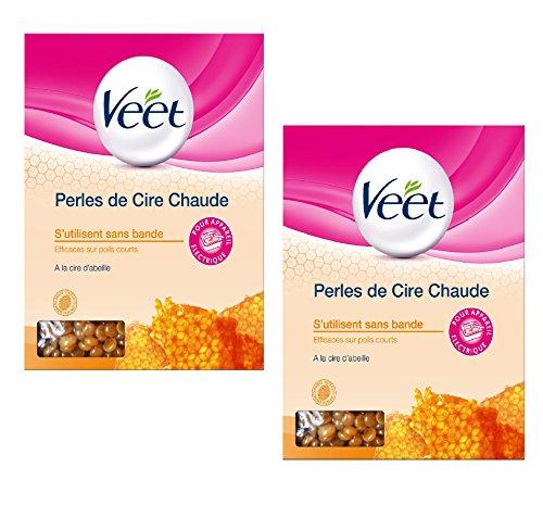 Veet Epilation Perles de Cire Chaude - Cire d'abeille 100% naturelle - 230 g - Lot de 2