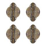 Tiazza 4 bisagras pequeñas de latón envejecido, para muebles, cajón, puerta, caja de regalo, caja de joyería de cobre puro
