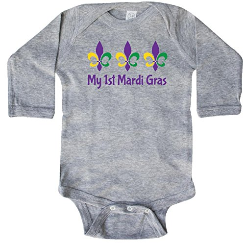 inktastic My 1st Mardi Gras Fleur De Long Sleeve Creeper 6 Months Heather Grey