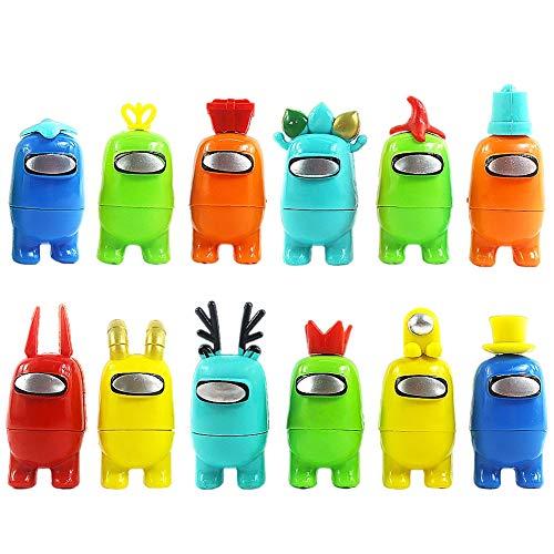 BESTZY Among Us Figuras en Miniatura 12PCS Among Us Figure Toy Entre Nosotros Juguetes DIY Figuras de Jardín Decoraciones Adornos de Mesa Escritorio Figuras de Juguete Lindas Colección