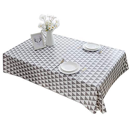 Tafelkleed Bedrukt tafelkleed Salontafel doek niet wassen waterbestendig Olie resistent plastic Driehoek patroon Placemat Diverse maten en kleuren,Gray,65X120cm