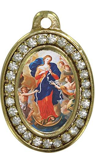Ferrari & Arrighetti Medalla Virgen Desatanudos de Metal Dorado con Strass - 3,5 cm
