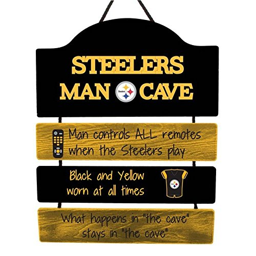 Pittsburgh Steelers NFL Mancave Team Logo Man Cave Hanging Wall Sign