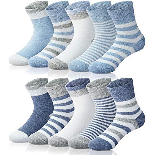Adorel Jungen Socken Knöchelhoch Babysocken 10er-Pack Blau & Dunkelblau 18-21 (Herstellergröße S)