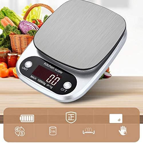 yywl Báscula de cocina con escala de alimentos, peso electrónico, pantalla LCD digital, peso 10 kg, plata, escala digital, escala electrónica, dieta de alimentos