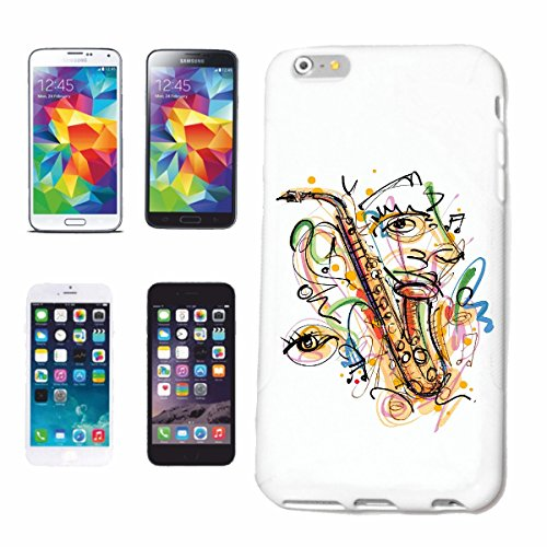 Bandenmarkt telefoonhoes compatibel met iPhone 7+ Plus Saxofoon Vintage Techno Jazz Funky Soul Trance Festival House Hiphop HIP HOP DJ hardcase beschermhoes mobiele telefoon Co