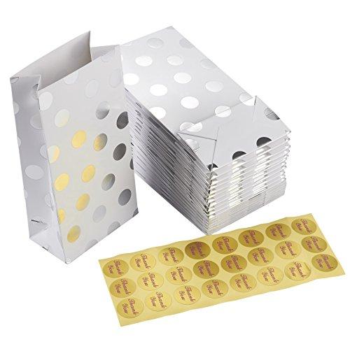 Pak van 24 papieren handtassen - feesttassen, leuke feestspeelgoed, 2 dozijn zilveren folie Polka Dots verjaardagsfeestje, douche Loot geschenktassen, 4 x 7,7 x 2,2 inch