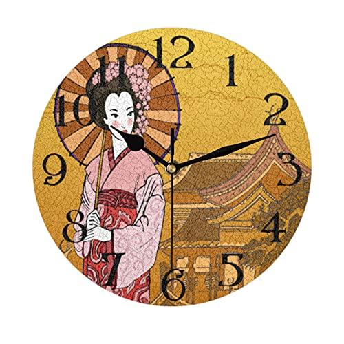 Lerous - Reloj de pared redondo sin garrapatas, reloj silencioso para mujer japonesa y fácil de leer para la escuela, oficina, hogar, cocina, baño, sala de estar, decoración de 30 cm