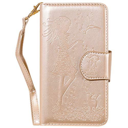 Buy Discount PU Leather Flip Cover Compatible with Samsung Galaxy S9, Gold Card Holders Luxury Kickstand Wallet Case for Samsung Galaxy S9