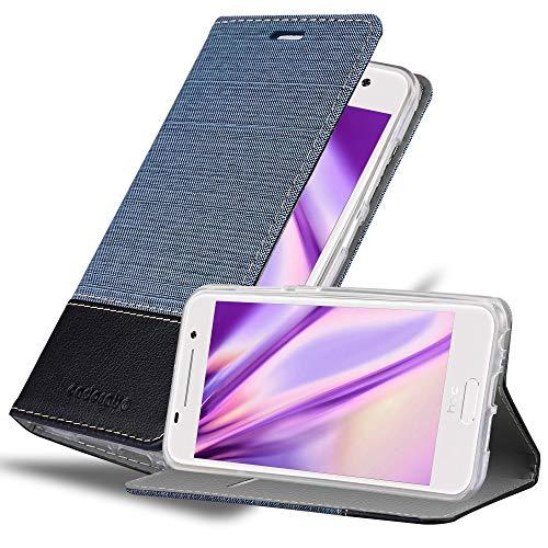 Cadorabo Hülle für HTC ONE A9 - Hülle in DUNKEL BLAU SCHWARZ – Handyhülle mit Standfunktion und Kartenfach im Stoff Design - Case Cover Schutzhülle Etui Tasche Book