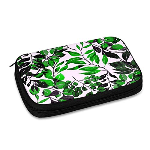 Electronics Organizer Leaves Vintage Texture Electronic Accessories Cable Organizer Bag Travel Cable Storage Bag for Cables, Laptop Charger, Tablet (Up to 9.4'')