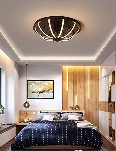 Ventilador de techo con iluminación, lámpara de ventilador LED para dormitorio Lámpara de techo de línea minimalista moderna con control remoto, potencia 64W