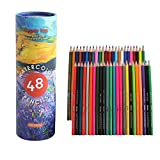 48 Watercolor Pencils by Cyper Top, Professional Colored Pencils for Adults, kids and Coloring Book, Artist Drawing Pencils with a Water Color Brush for Blending, Sketching, Shading