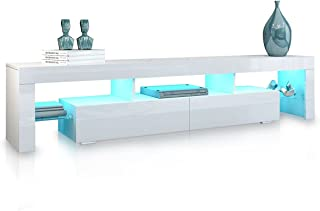 TV Stand Cabinet Entertainment Unit High Gloss Front 2 Drawers Wood Storage RGB LED Light White 200cm