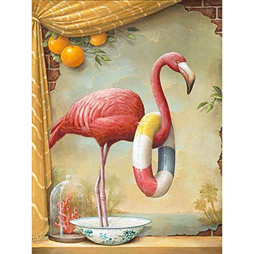 5D Kit de Pintura de Diamante completo, DIY Diamond Painting Flamingo anillo de natación diamante de cristal Bordado de punto de cruz Pinturas Artes kit decoración de pared 30x40cm Sin marco