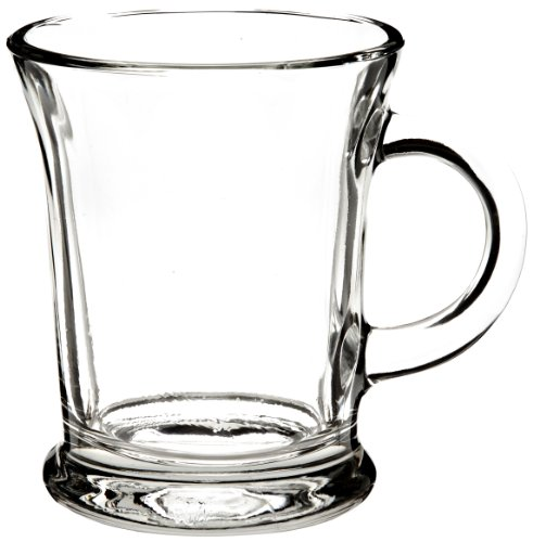 Classic Sturdy & Durable Clear Glass Beverage Mug Set with Handles for Coffee, Tea, Hot & Cold...