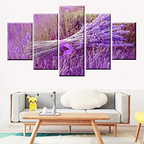 Moderner HD-Druck 5 Stück Lila Lavendel Blumenstrauß Poster Kunst Leinwand Wanddekoration,Rahmenlose Malerei,40x60cmx2, 40x80cmx2, 40x100cmx1