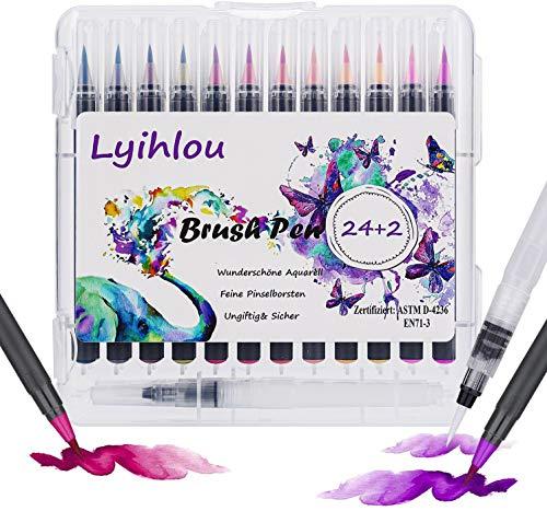Watercolor Brush Pen Set, Wasserfarben Pinselstifte 24+2, Aquarell Pinsel Marker Stifte 100% ungiftig Geruchlos für Erwachsene Malbücher, Manga, Comic, Kalligraphie (24+2 Farben)