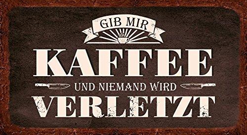 Grafik Werkstatt Bielefeld Wand Vintage-Art   Gib Mir Kaffee und niemand Wird verletzt   Retro   Nostalgic   Pappschild mit Kordel  Deko-Schild Cardboard - Dekoschild, Pappe, bunt, 22 x 12 cm