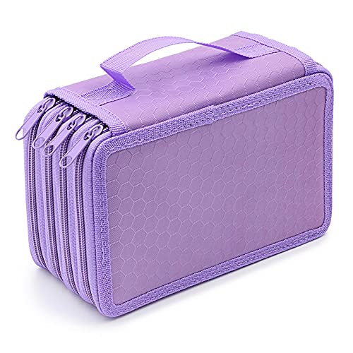 72 Inserting Portable Large Capacity Multi Layer Pencils Case Holder Pouch Purple Travel Toiletries Bag