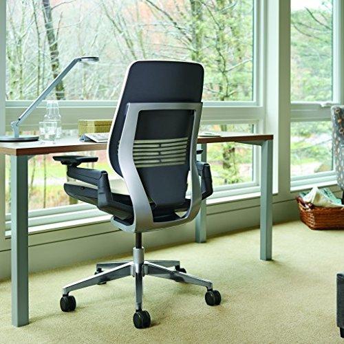 Steelcase Gesture Office Chair - Cogent Connect Blueprint Upholstered Wrapped Back Platinum Metallic Frame Medium Seat Light Seagull Seat/Back Dark Merle Arms Hard Floor Caster Wheels