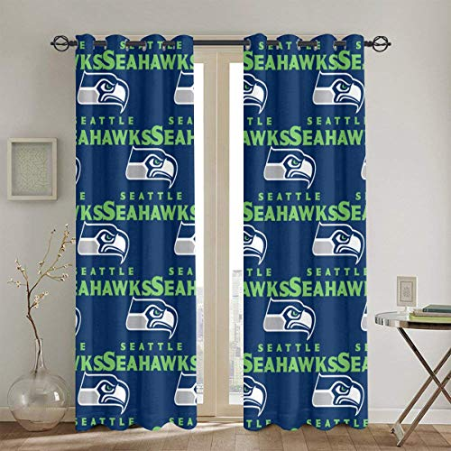 Seatt-le Seah-awks Blackout Curtains, Bedroom Curtains Shower Curtain, Living Room with Insulated Curtains, 52 x 84 inches, 2 Panels