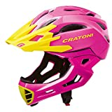 Cratoni C-Maniac BMX Freeride Downhill - Casco integral para BMX (54-58 cm), color rosa y amarillo
