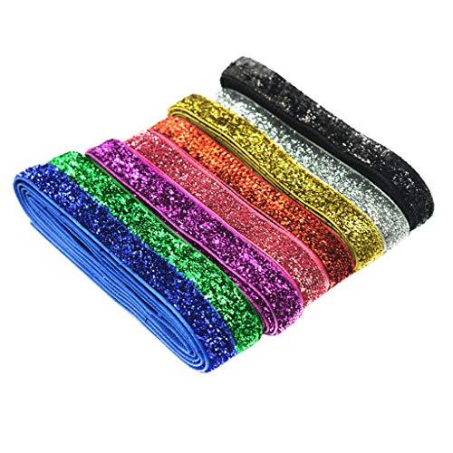 perfeclan Cintas de Terciopelo con Purpurina de 8 Colores de 10 Mm de Ancho para Decoración Artesanal de Papel de Regalo con Lazo