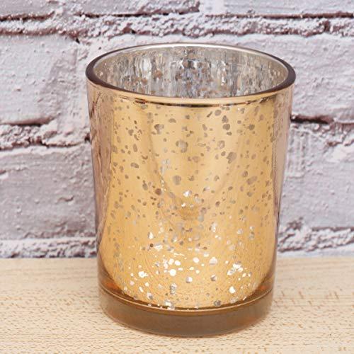 Mobestech portacandele votivo, portacandele profumati in Vetro Mercurio per Natale (1 pz, Dorato)