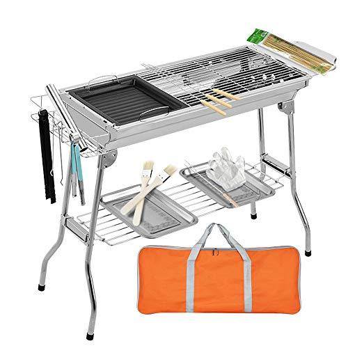 Ruiao Barbecue a carbonella in acciaio inox, portatile a carbonella, barbecue pieghevole per campeggio, escursionismo, picnic, viaggi, giardino, feste, 5-15 persone